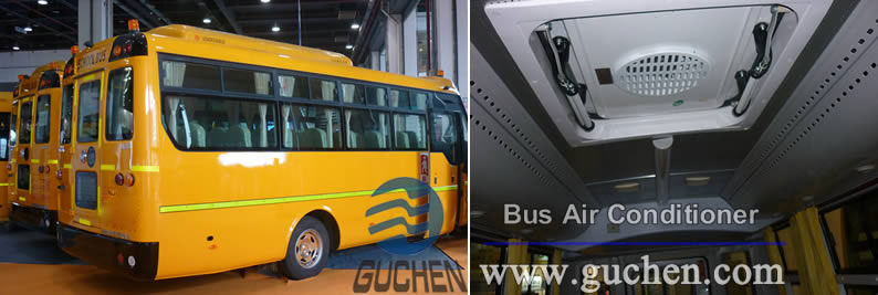 school bus air conditioning system installed on the school bus