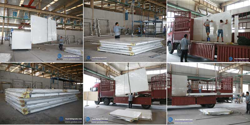 Guchen refrigerated truck bodies are loading on the truck to south America