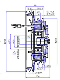 2A2B 260X200 Electromagnetic Clutches Drawing Picture
