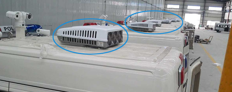 DC powered air conditioning system for special vehicles