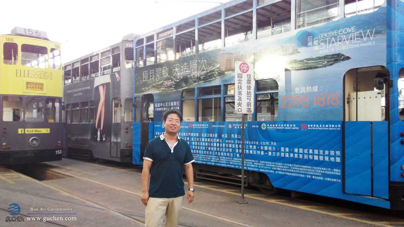 Guchen sales manager to HK company and discuss the electric bus aircon