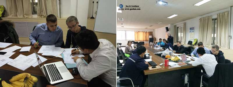 Guchen bus air conditioning system installation discussion meeting
