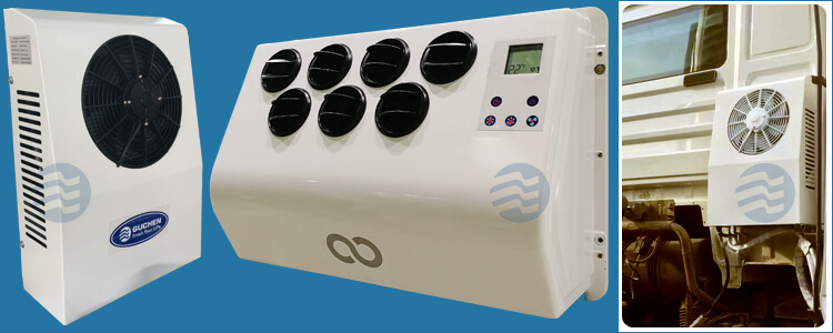 Rear mounted DC powered air conditioner