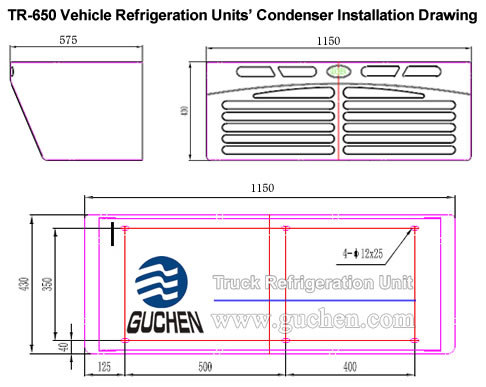 TR-650 Vehicle Refrigeration Units' Condenser Installation Drawing